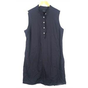 Lands End Navy Blue Sleeveless Shirt Dress Cotton